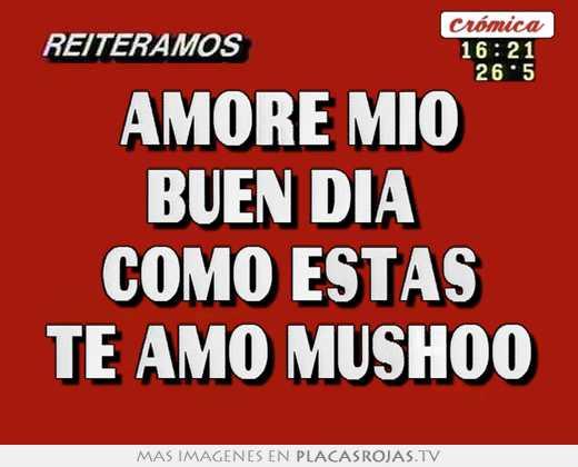Amore mio buen día como estas te amo mushoo - Placas Rojas TV