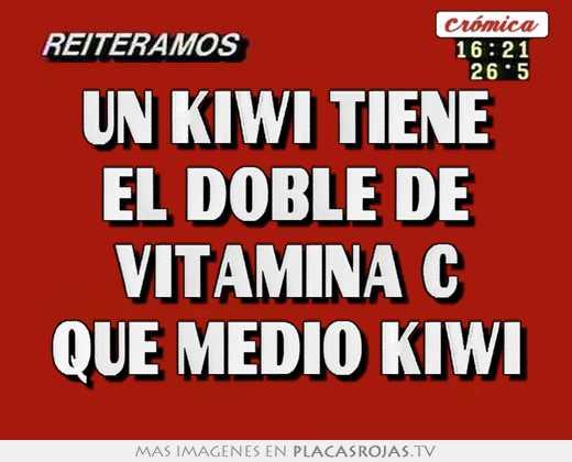 Un kiwi tiene el doble de vitamina c que medio kiwi