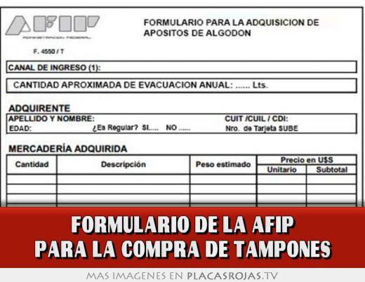 Formulario de la afip para la compra de tampones