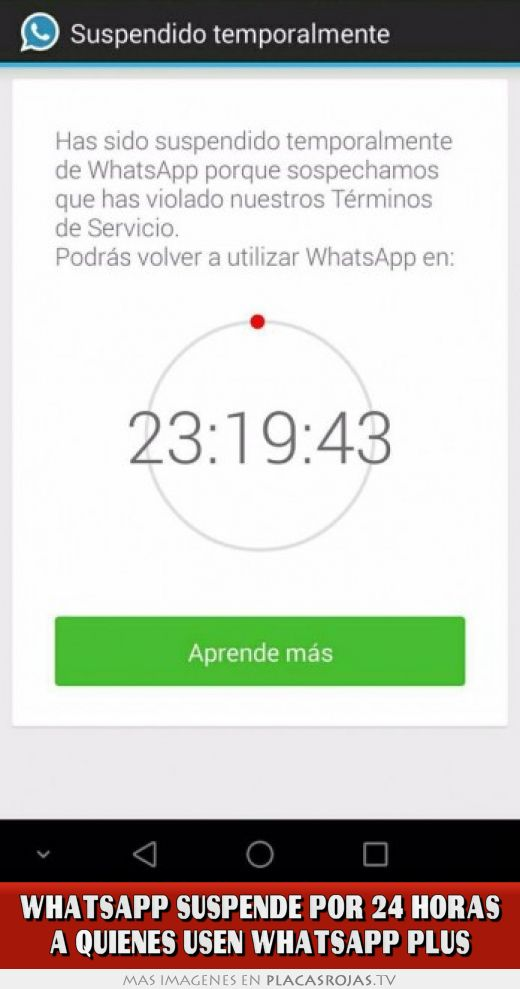 Whatsapp suspende por 24 horas a quienes usen whatsapp plus