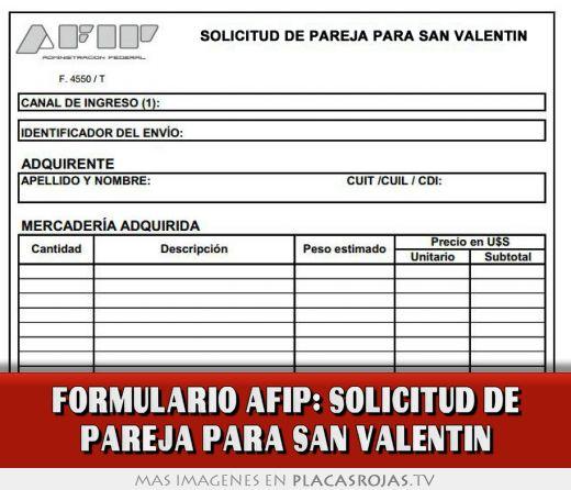 Formulario afip: solicitud de pareja para san valentin