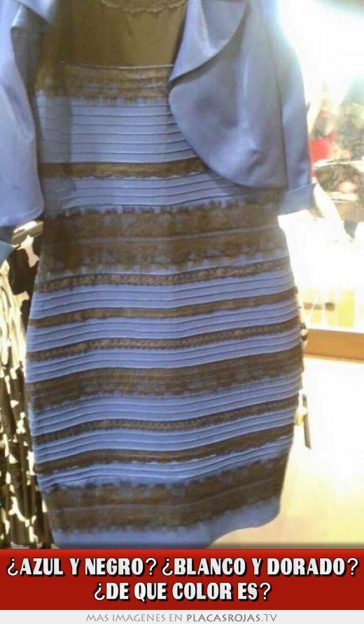 ¿azul y negro? ¿blanco y dorado? ¿de que color es?