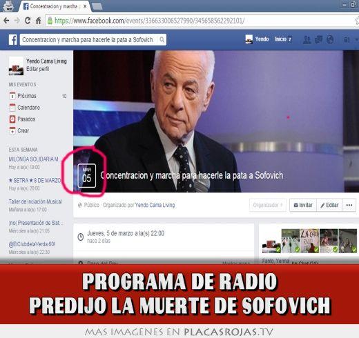 Programa de radio predijo la muerte de sofovich