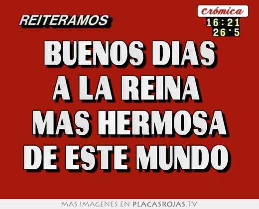 Buenos Días A La Reina Mas Hermosa De Este Mundo Placas Rojas Tv