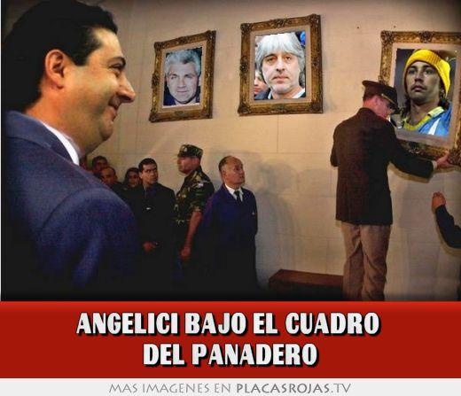 Angelici bajo el cuadro  del panadero