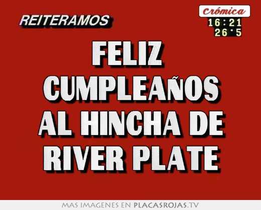 Cartel feliz cumpleanos de river