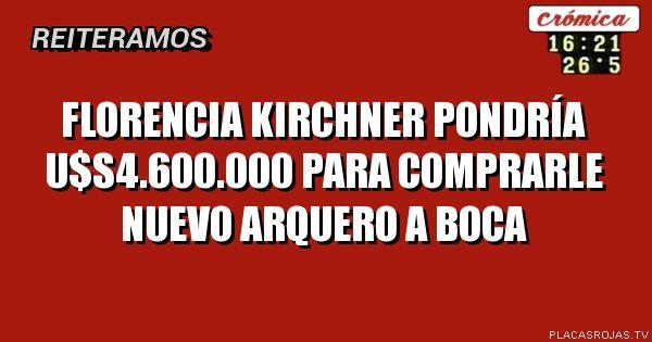 Florencia kirchner pondría u$s4.600.000 para comprarle nuevo arquero a boca