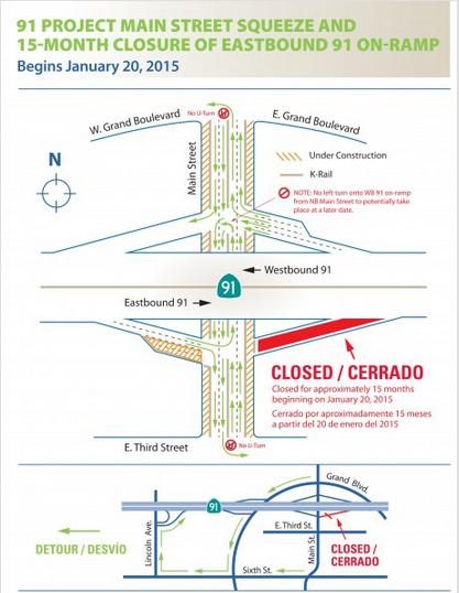 Corona California 91 Freeway & Main St