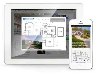 Interactive floor plan shown on tablet and mobile
