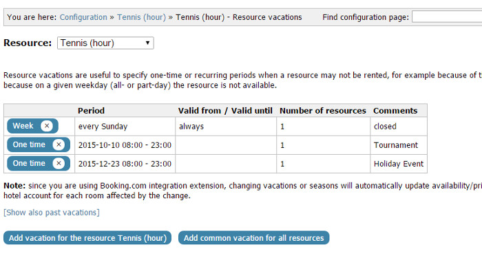 Admin can enter one-time or recurring vacation periods when no bookings can be entered