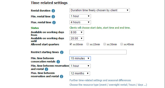 Many options to fit the time model you normally use (start/end times & weekdays, min/max rental time, time between rentals)