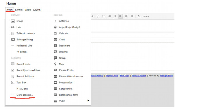 Google Sites gadget