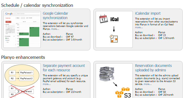 Planyo store offers integrations with many popular cloud-based systems