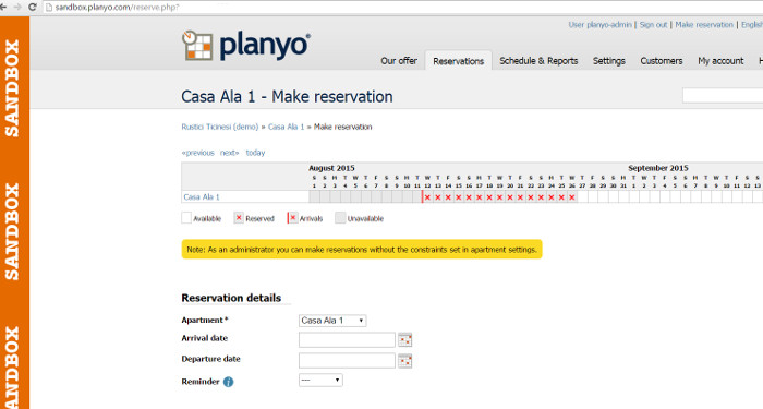 Planyo Sandbox - ability to test new configurations and features without affecting the production site