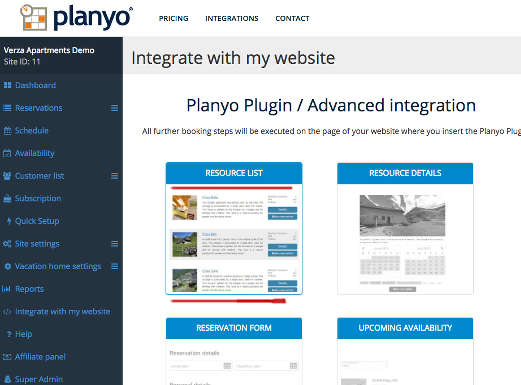 Planyo online reservation system - Integration with Weebly