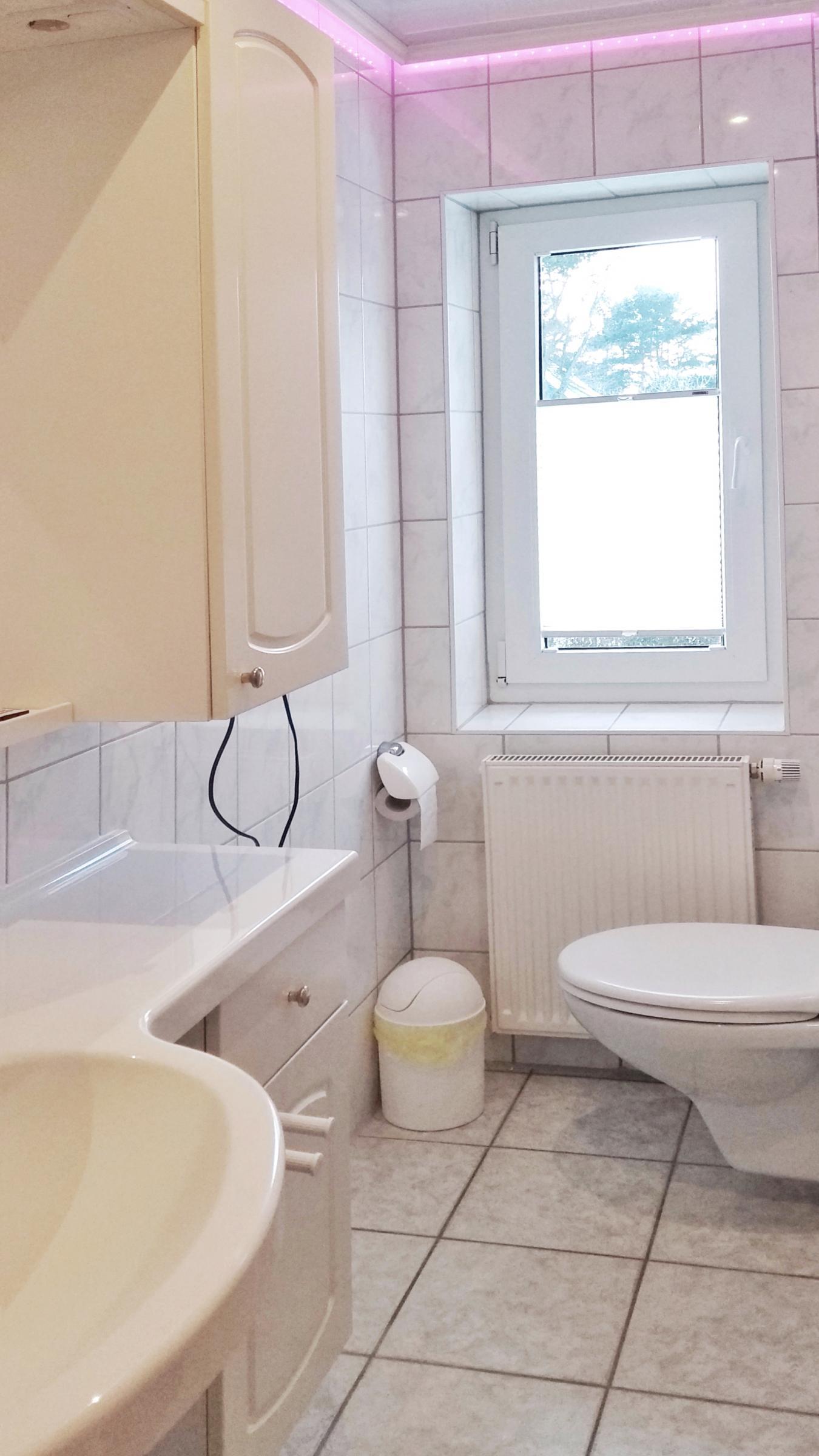 Dusche / WC mit farbigem LED-Design.