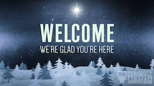 Christmas Forest Blue Welcome Still Background