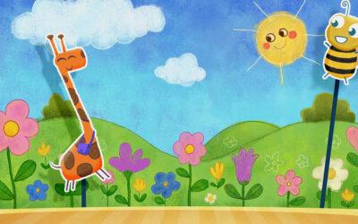 Desenho inspirado no teatro de fantoches para crianças