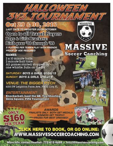 Halloween 3v3 Soccer Tournament - October 29, 2016