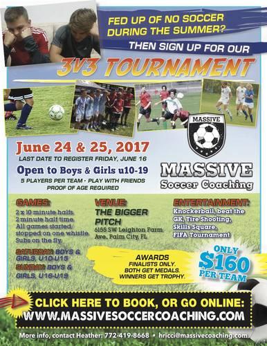 3v3 Summer Soccer Tournament - June 24 & 25, 2017