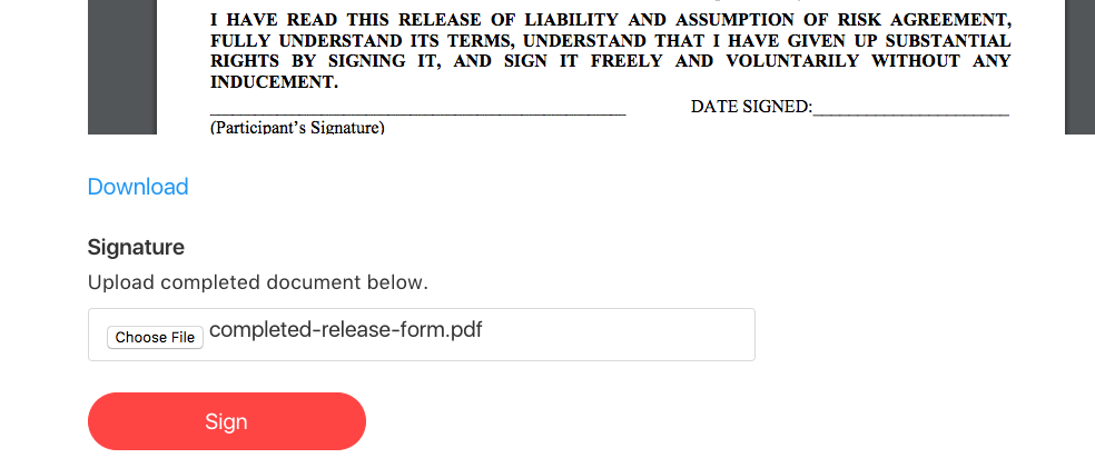 signed waiver form