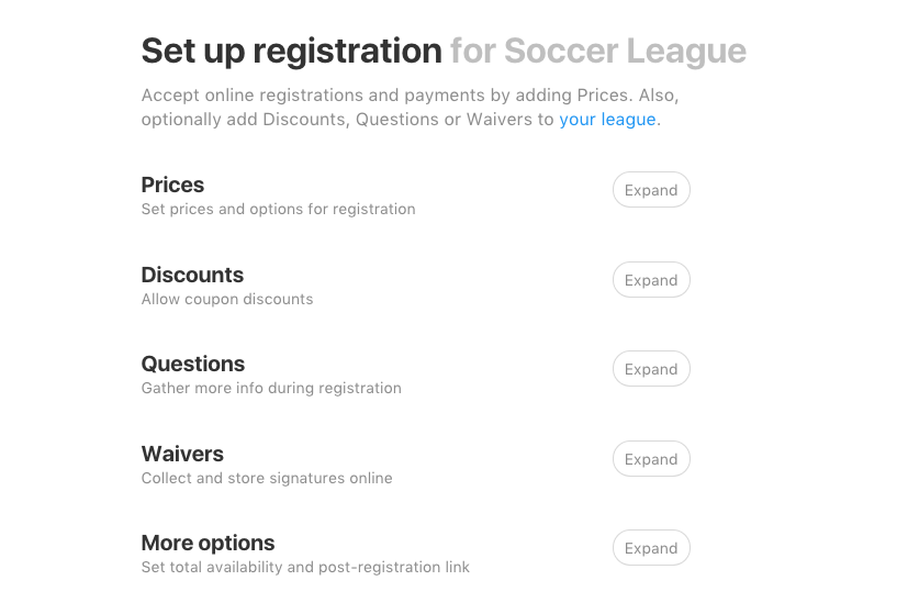 set up registration options