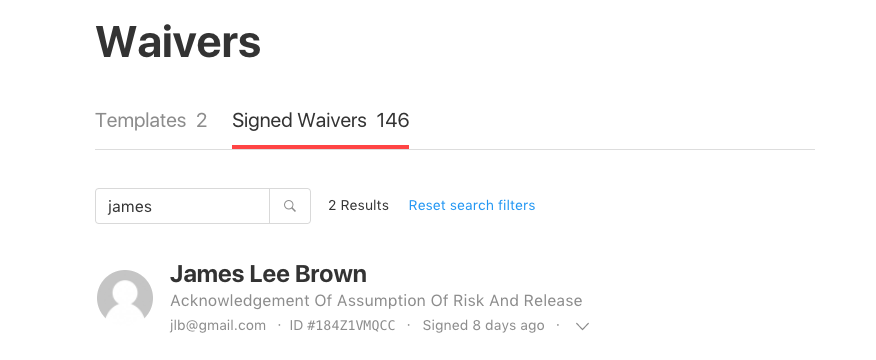 search signed waivers