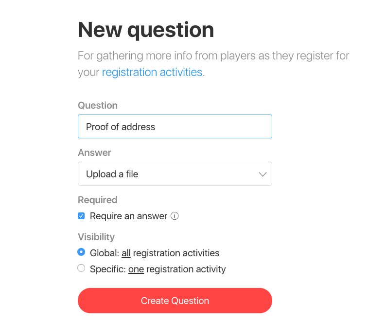 registration new question