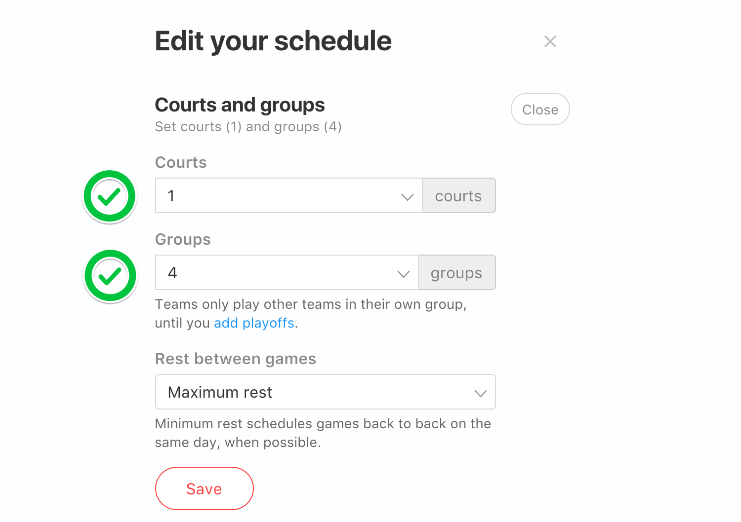 schedule courts and groups