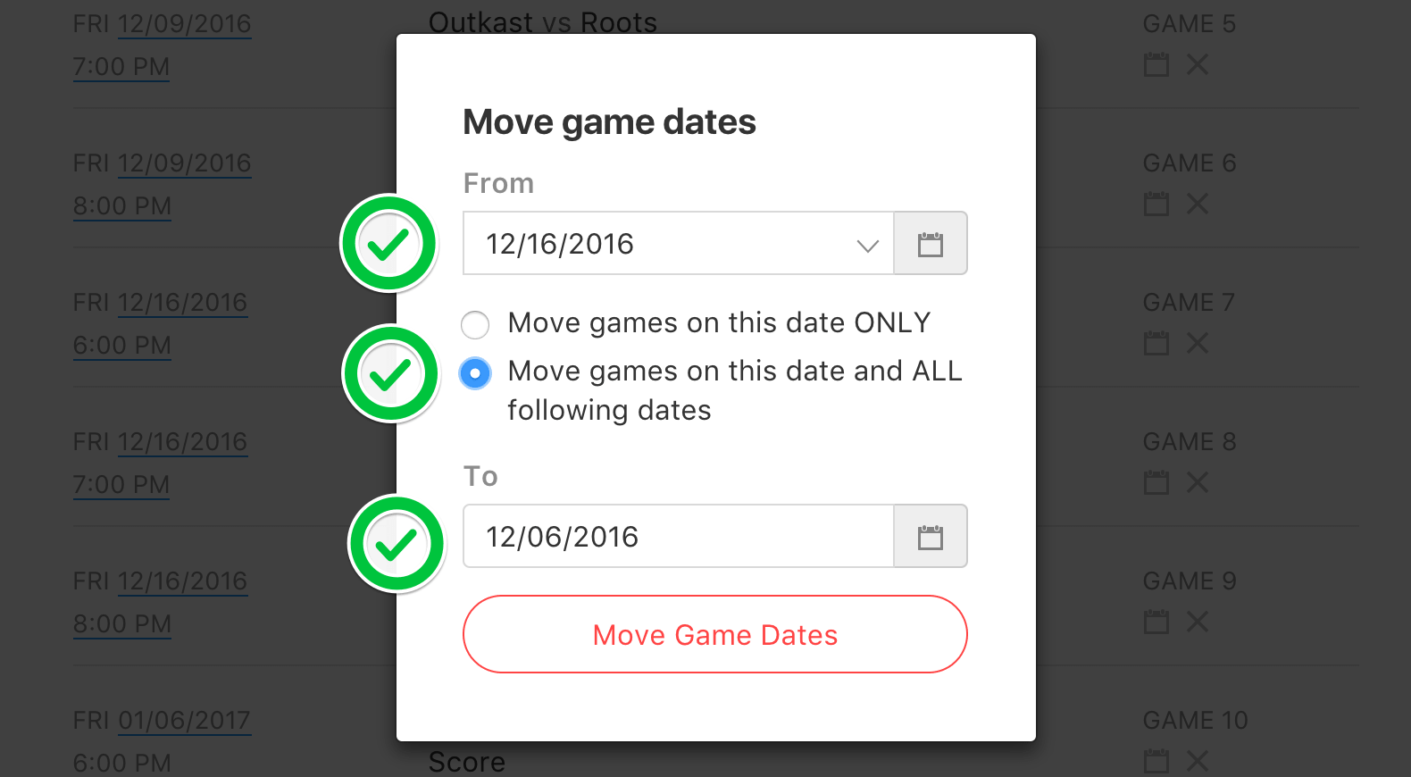 move games around holidays