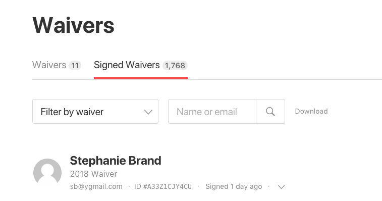 filter download signed waivers