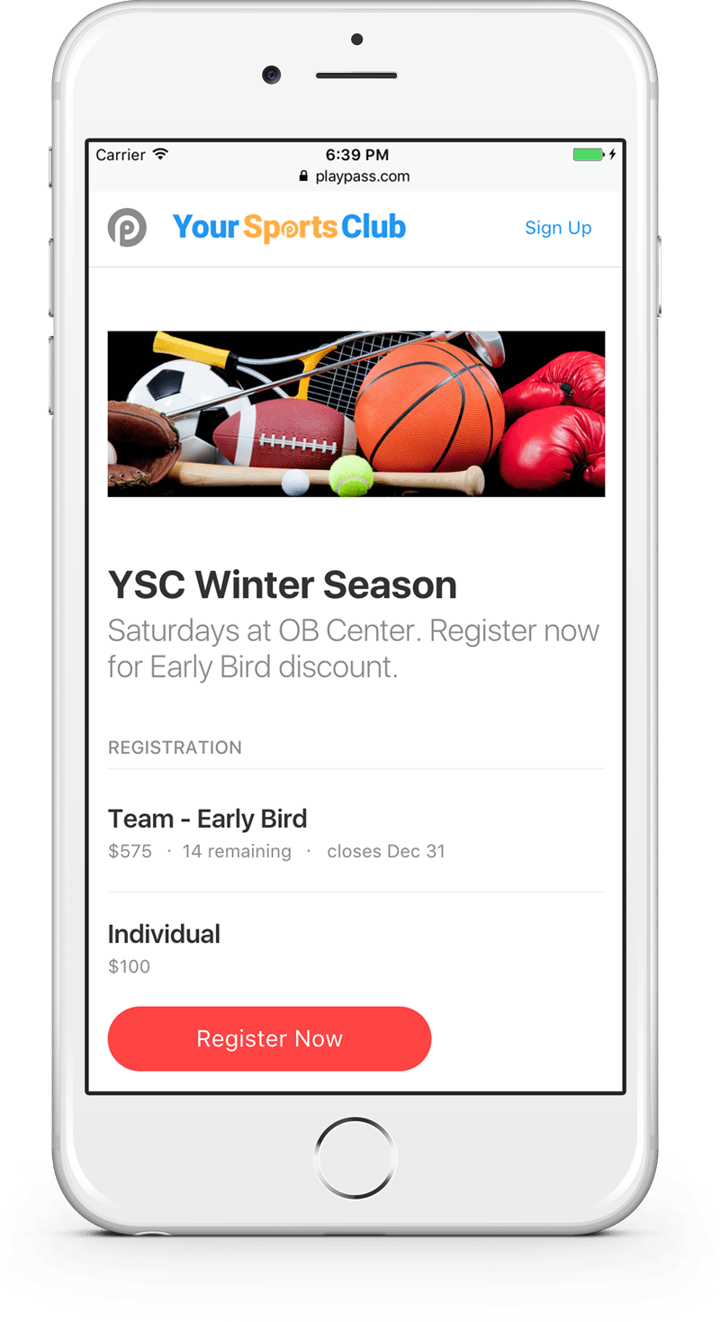 sports software mobile registration