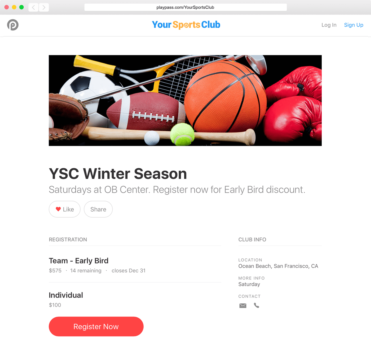 sports registration payment software