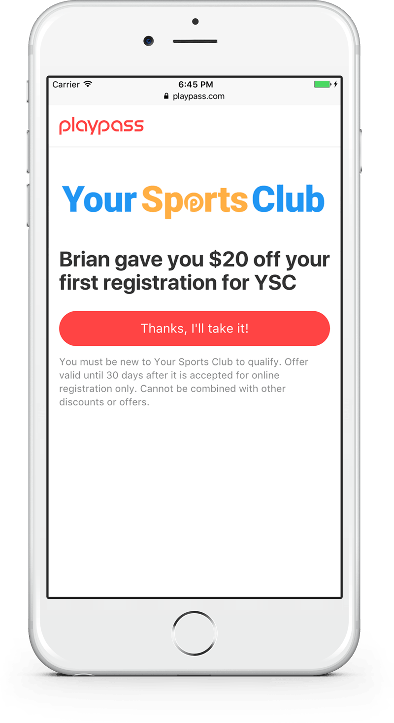 mobile ultimate frisbee referral program
