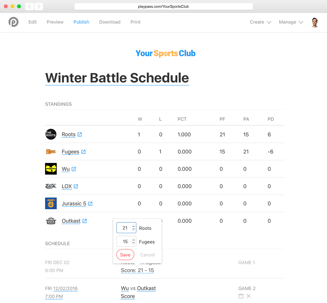 dodgeball schedule maker