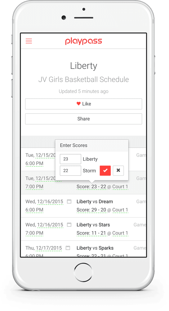 sports schedule maker mobile