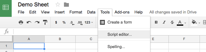 Go to script editor