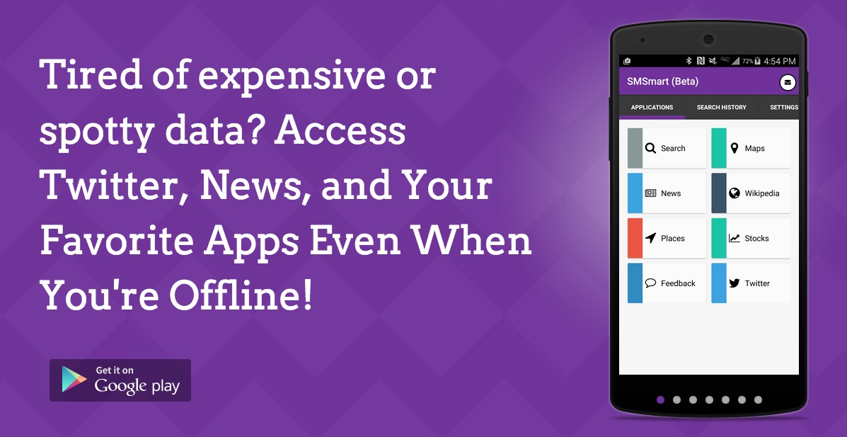 Banner: SMSmart allows access your favorite apps without using any data