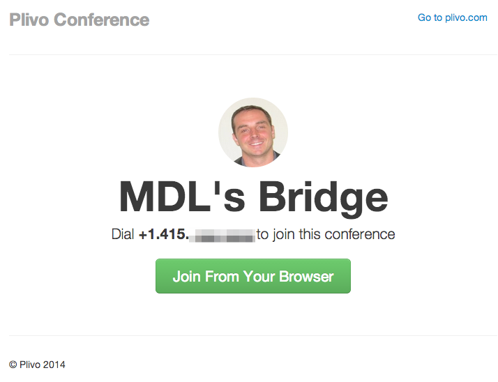 Plivo conference bridge screenshot
