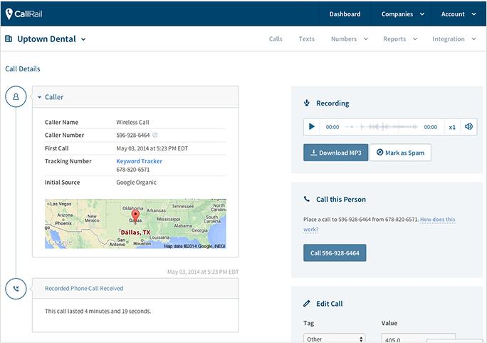 Call Tracking CallRail Plivo Voice API screenshot