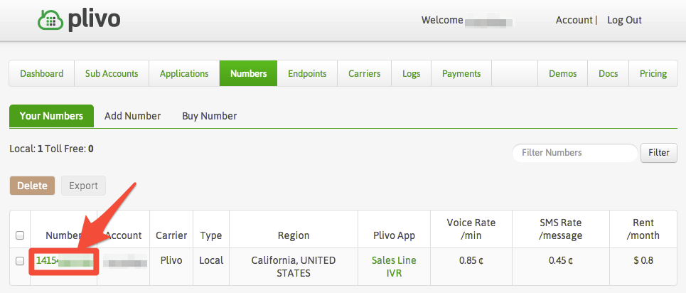 HipChat API Bot - Plivo Number Page