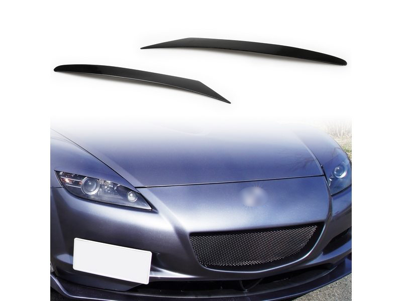 CARBON FIBER HEADLIGHT LIDS BROW EYEBROWS EYELIDS COVER FOR MAZDA RX 8 RX8