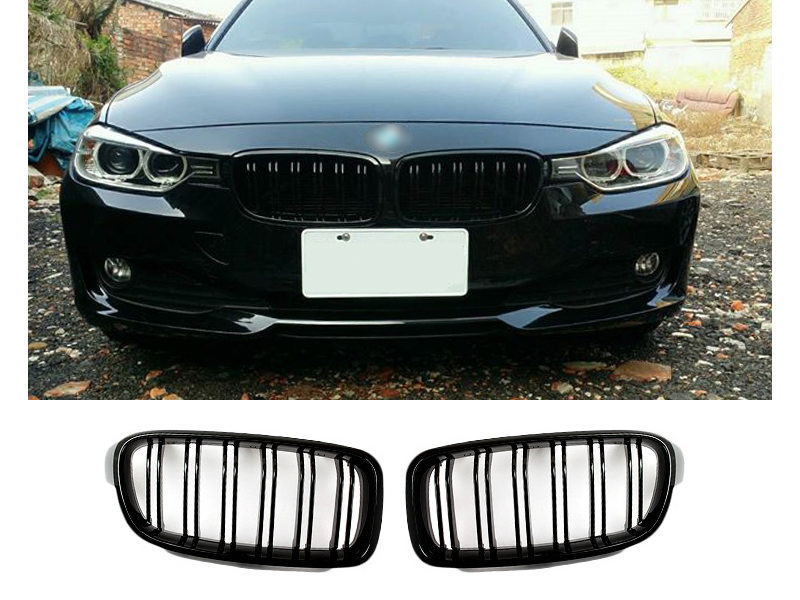 Double Rib Style M3 Look Shiny Gloss Black Front Kidney Grille For