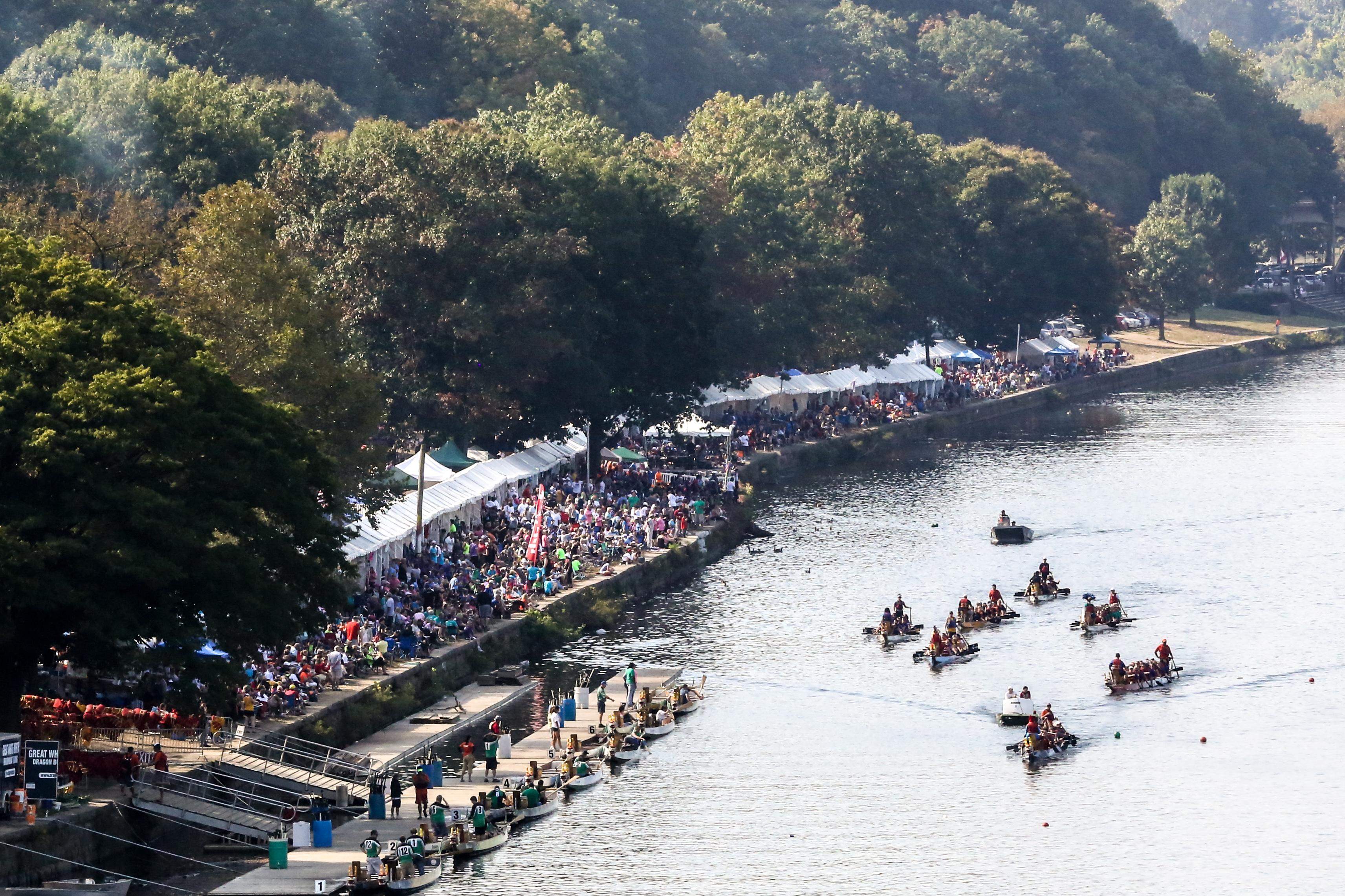 Wide shot of dragon boat race