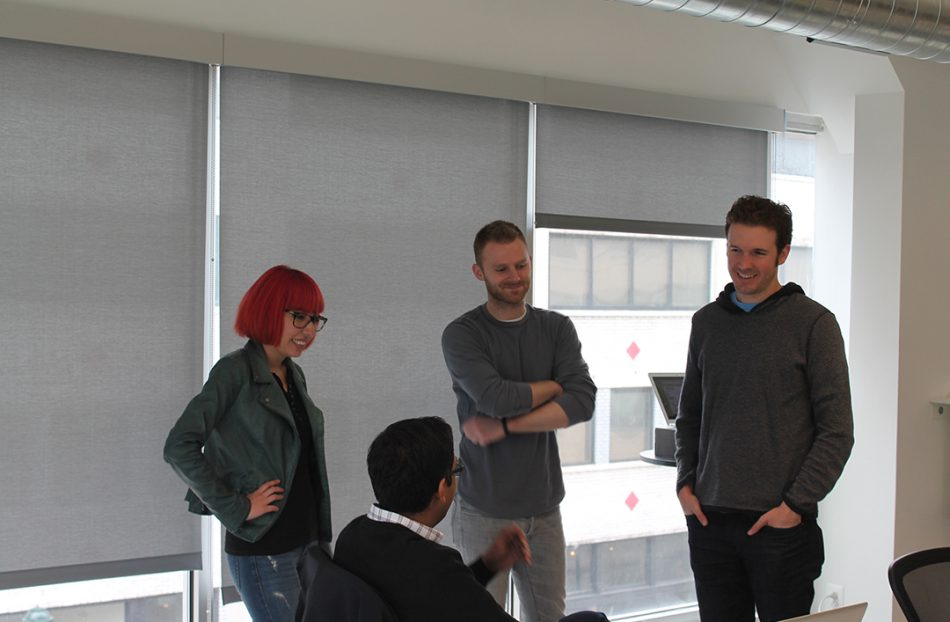 Apu Gupta (second from left) Brendan Lowry (second from right) and Nick Shiftan (far right) were the first three employees of Curalate.