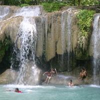Crop 200 erawan waterfall  kanchanaburi province  thailand   june 2004