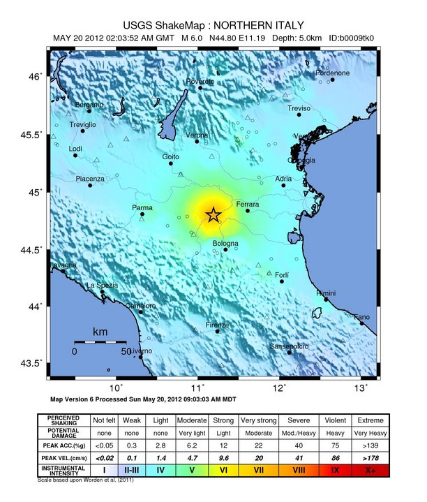 Map Of North West Italy.Serious Earthquake In Italy Pacific Northwest Seismic Network