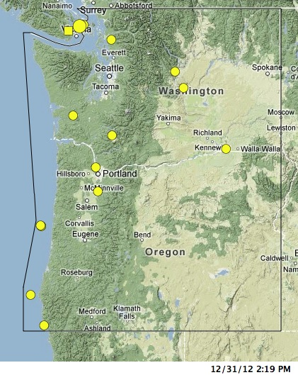 4800 Earthquakes In A Mild 2012 In The Pacific Northwest Pacific
