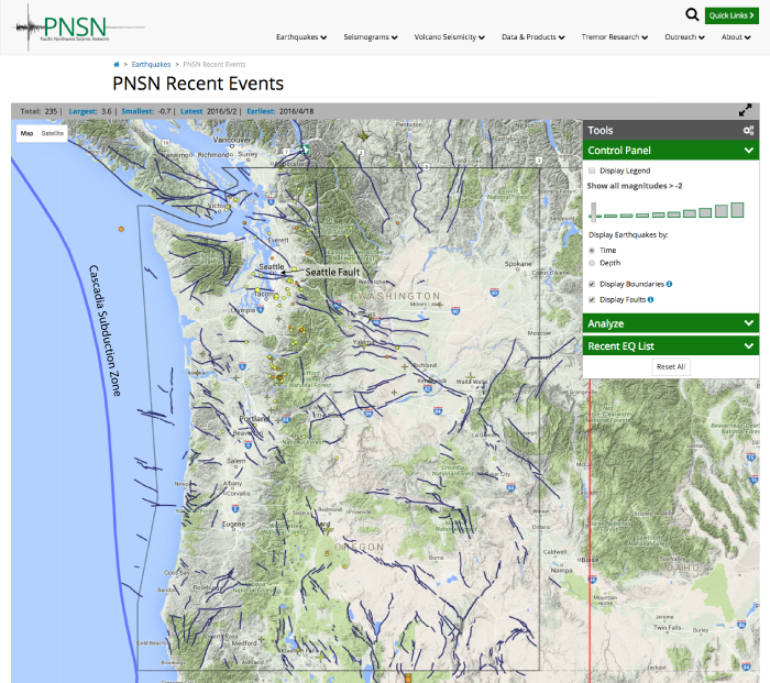 Washington State Earthquake Map Oregon and Washington faults added to PNSN earthquake map