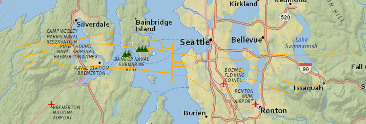 Approximate surface traces of Seattle Fault Zone fault strands as retrieved from USGS quartenary map server